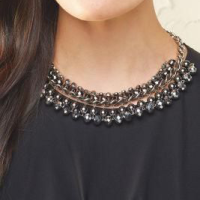 Black crew neck top with choker necklace.