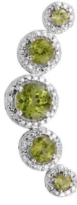 Five stone peridot pendant with halo set white topaz.
