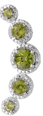 Pendant with round peridot gems and halo set white topaz.