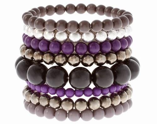 Beaded layered bracelets.