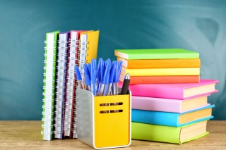 Multi-colored school supplies.