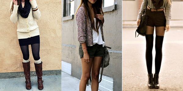 Women wearing shorts for fall.