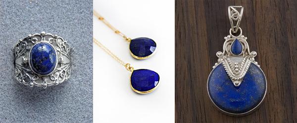 Lapis lazuli gemstone jewelry.