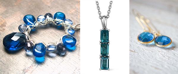 Capri blue quartz gemstone jewelry.