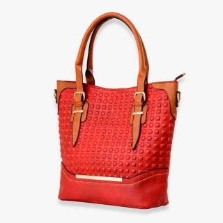 Red square embossed handbag.
