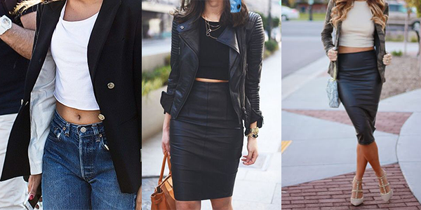 Crop tops paired with structured jackets for fall.