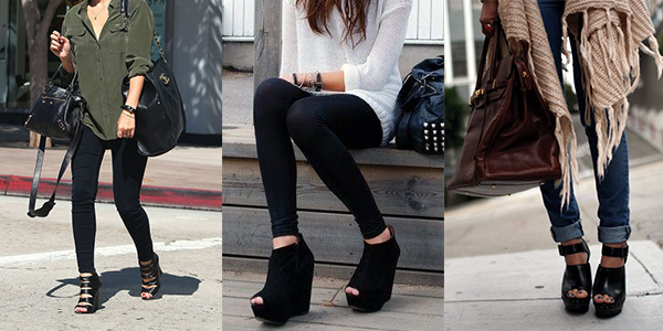 Women wearing wedge shoes for fall.
