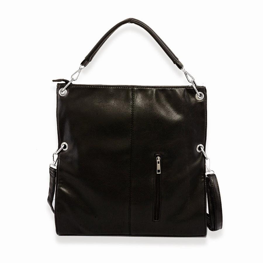 Black leatherette shoulder bag.