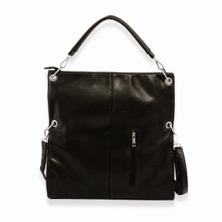 Black leatherette shoulder bag.