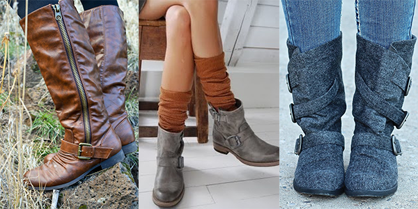 Close ups of fall boots.