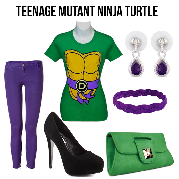 Green shirt and purple denim pants with amethyst earrings and matching accessories.