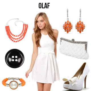 Woman in a white dress, with which accessories and orange jewelry.