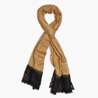 Yellow scarf with black lace trim.