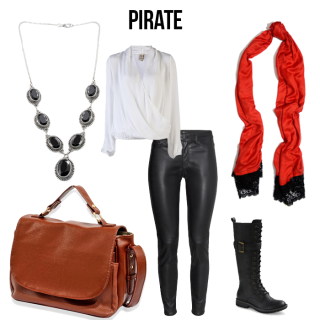 A white blouse, black pants, red scarf, black boots, black necklace and brown shoulder bag.