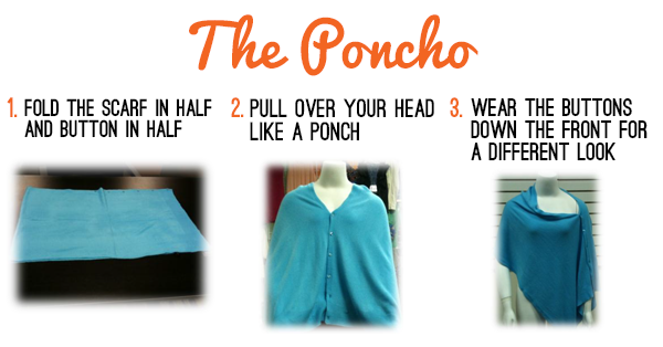 How to wear a scarf as a poncho.