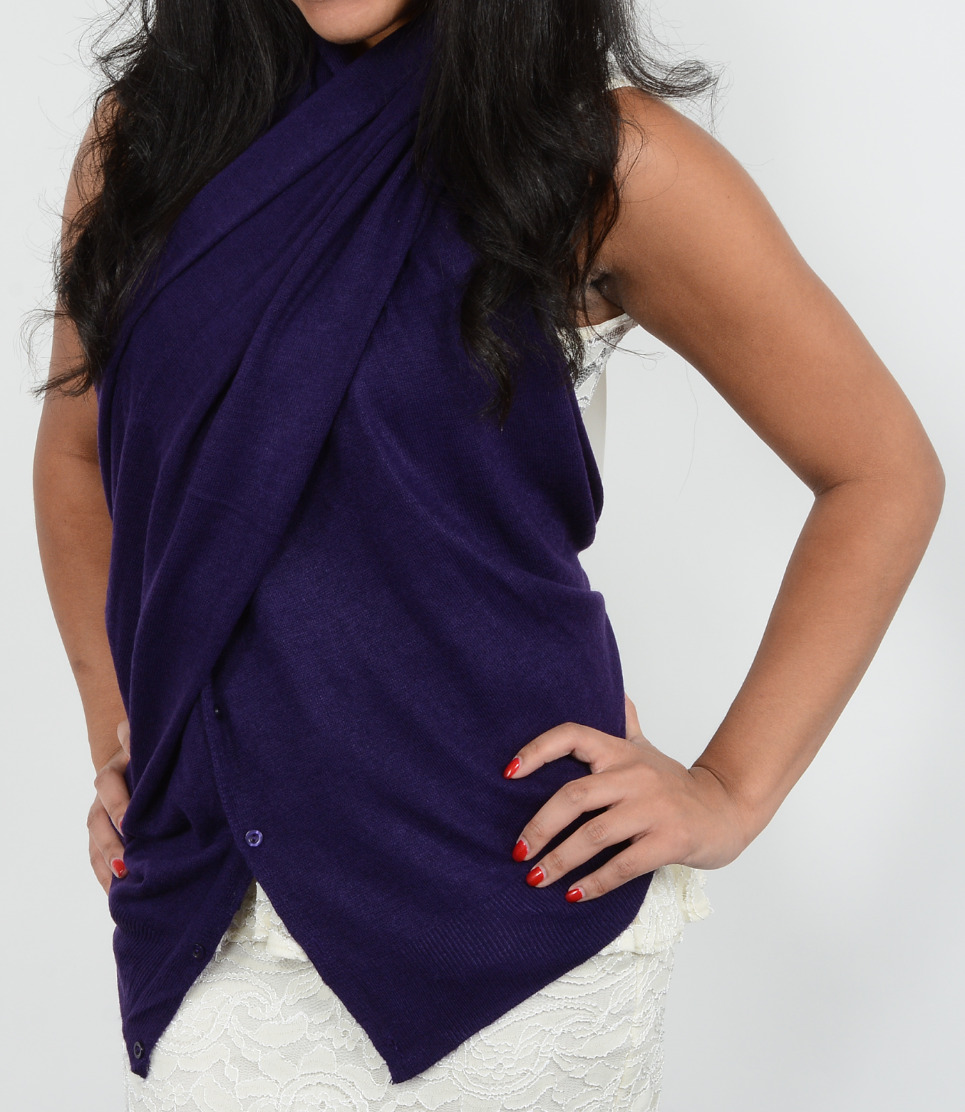 Purple color button scarf in criss cross halter neck style.