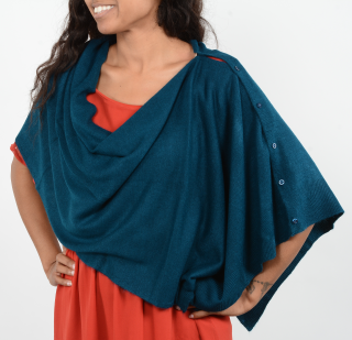 Blue color button scarf in the poncho style.