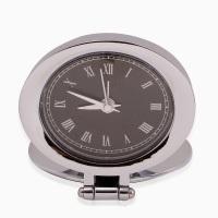 Silver and black desk clock.