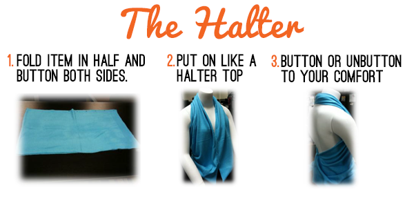 How to wear a scarf in the halter style.