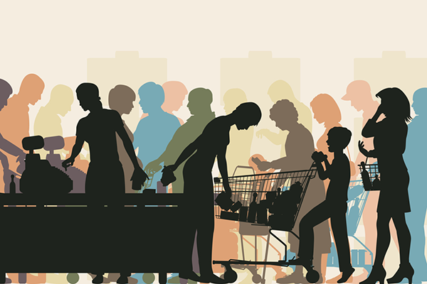 Vector image of customers waiting to check out.