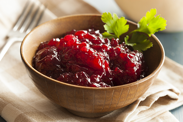 Bowl of cranberry sauce.