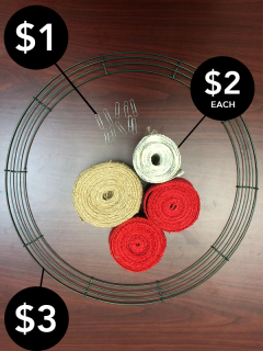 Gather your materials to build your burlap wreath.