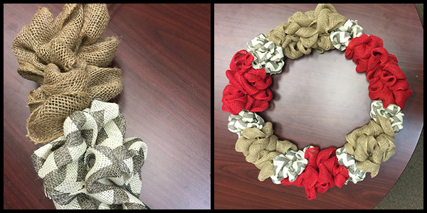 Experiment with different patterns or colors when crafting your burlap wreath!