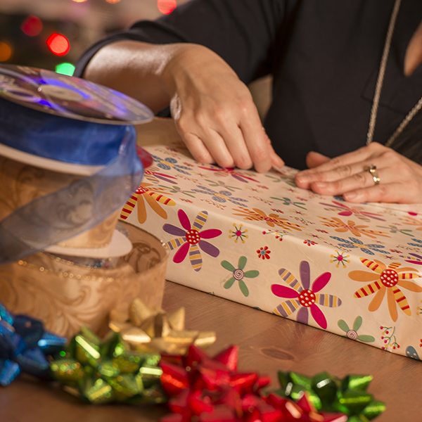 Using double sided tape is just one of our great gift wrapping tips!