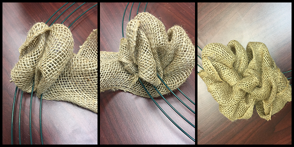 Slide the loops together to build up your burlap wreath.