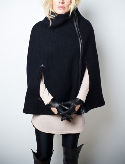 Zippered Cape Coat