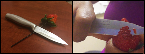 Cutting the strawberry
